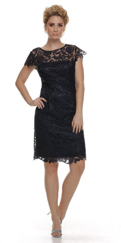 Short Vintage-Like Lace Dress Black Cap Sleeves