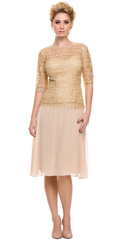 Mother of Bride Gold Knee Length Dress Chiffon/Lace