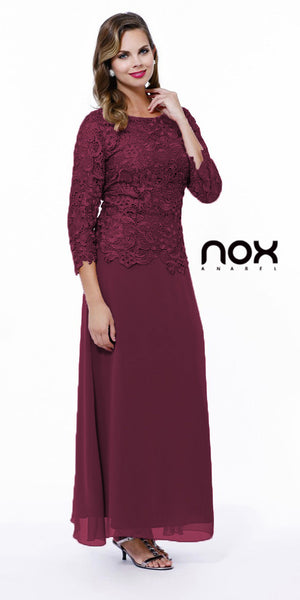 Burgundy Mother of Bride Gown Plus Size Mid Lace Sleeves