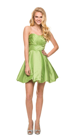 Short Satin Bubble Dress Apple Green A Line Strapless Sweetheart