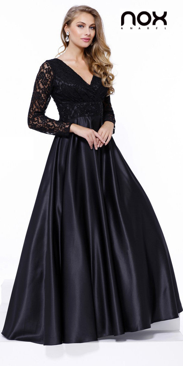 Poofy Satin Ball Gown Black V Neckline Lace Long Sleeves