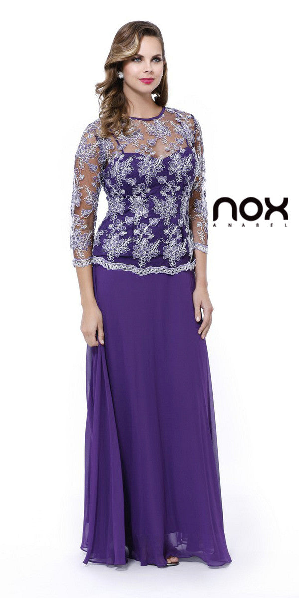 Plus Size Illusion Neck Formal Dress Plum/Silver Long Sleeve ...