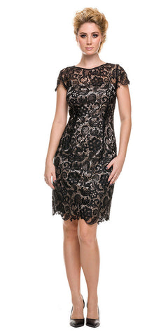 Short Vintage-Like Lace Dress Black Sand Cap Sleeves