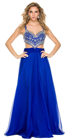 Sexy Formal Prom Gown Royal Blue A Line Chiffon Side Cut Outs
