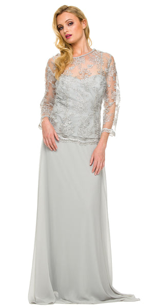 Plus Size Illusion Neck Formal Dress Silver Long Sleeve