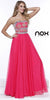 Corset Back Prom Gown Fuchsia Chiffon A Line Strapless