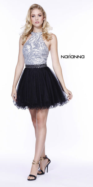 Short Sequin Top Homecoming Dress Silver/Black Tulle Poofy Skirt