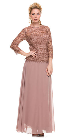 Plus Size Chiffon/Lace Mother Bride Dress Blush Tan
