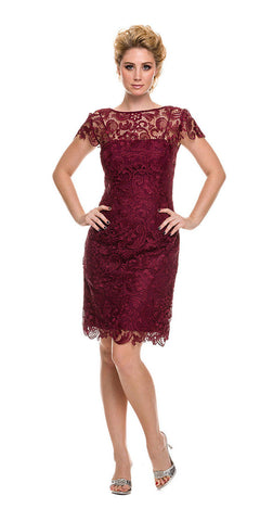 Short Vintage-Like Lace Dress Burgundy Cap Sleeves