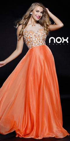 Orange Open Back Sleeveless long Prom Dress Jewel Top