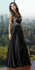 Shimmering Long Prom Gown Black Satin Beaded Top Sleeveless