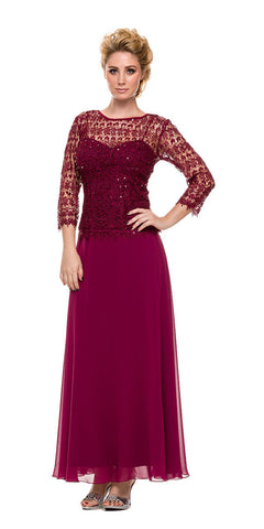 Plus Size Chiffon/Lace Mother Bride Dress Burgundy