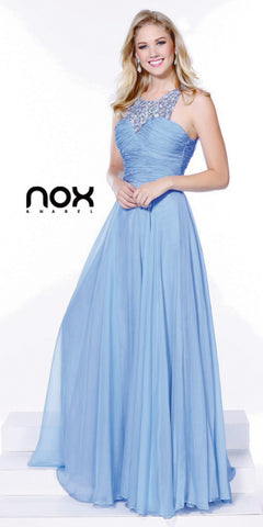 Rhinestone Neck Strap Periwinkle Prom Gown A Line Chiffon