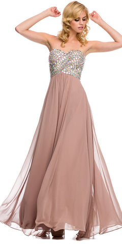 Sparkly Prom Dress Blush Tan Floor Length Strapless Empire