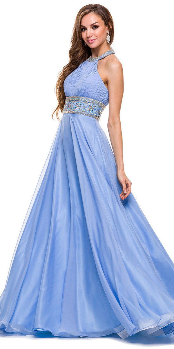 Halter Prom Gown Periwinkle A Line Floor Length Keyhole Front