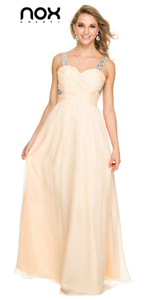 Nude Prom Chiffon Gown Floor Length Rhinestone Straps
