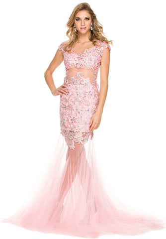 Hot and Sexy Formal Gown Bashful Pink Lace/Tulle Cap Sleeves