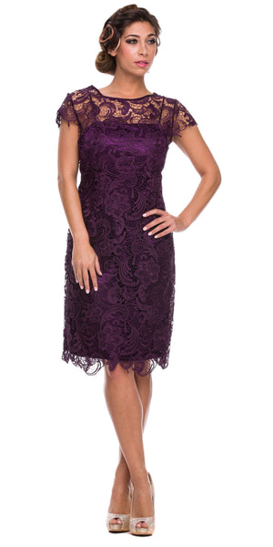 Short Vintage-Like Lace Dress Eggplant Cap Sleeves