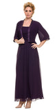Mother of Groom Plum Ankle Length Dress Plus Size
