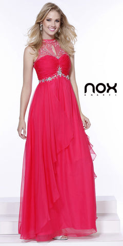 Prom Gown Long Fuchsia Chiffon Empire Cap Sleeves High Neck