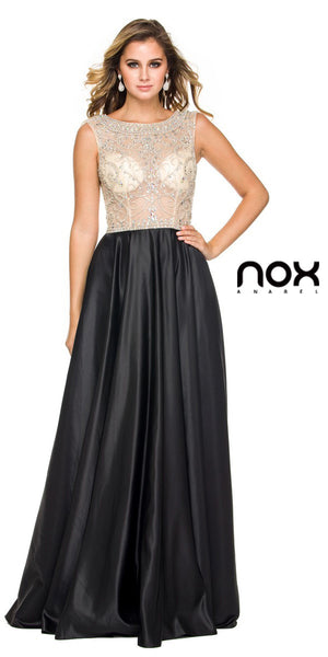 Sheer Embellished Bodice Prom Gown Black Satin Skirt