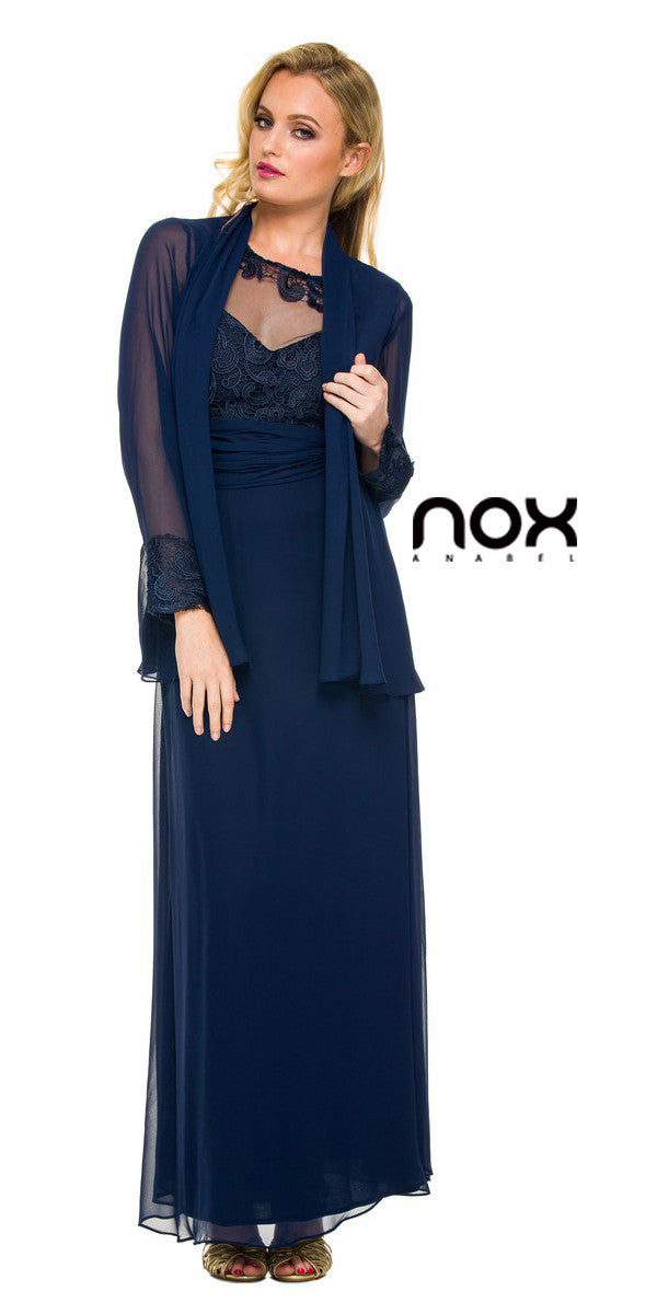 Plus Size Mother of Groom Gown Navy Blue Chiffon/Lace A Line ...
