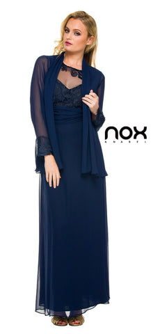 Plus Size Mother of Groom Gown Navy Blue Chiffon/Lace A Line