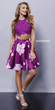 Two Piece Lace Purple Floral Print Short Racerback Dress Satin