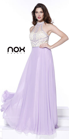 Sheer Back High Neck Long Lilac Prom Dress Chiffon A Line