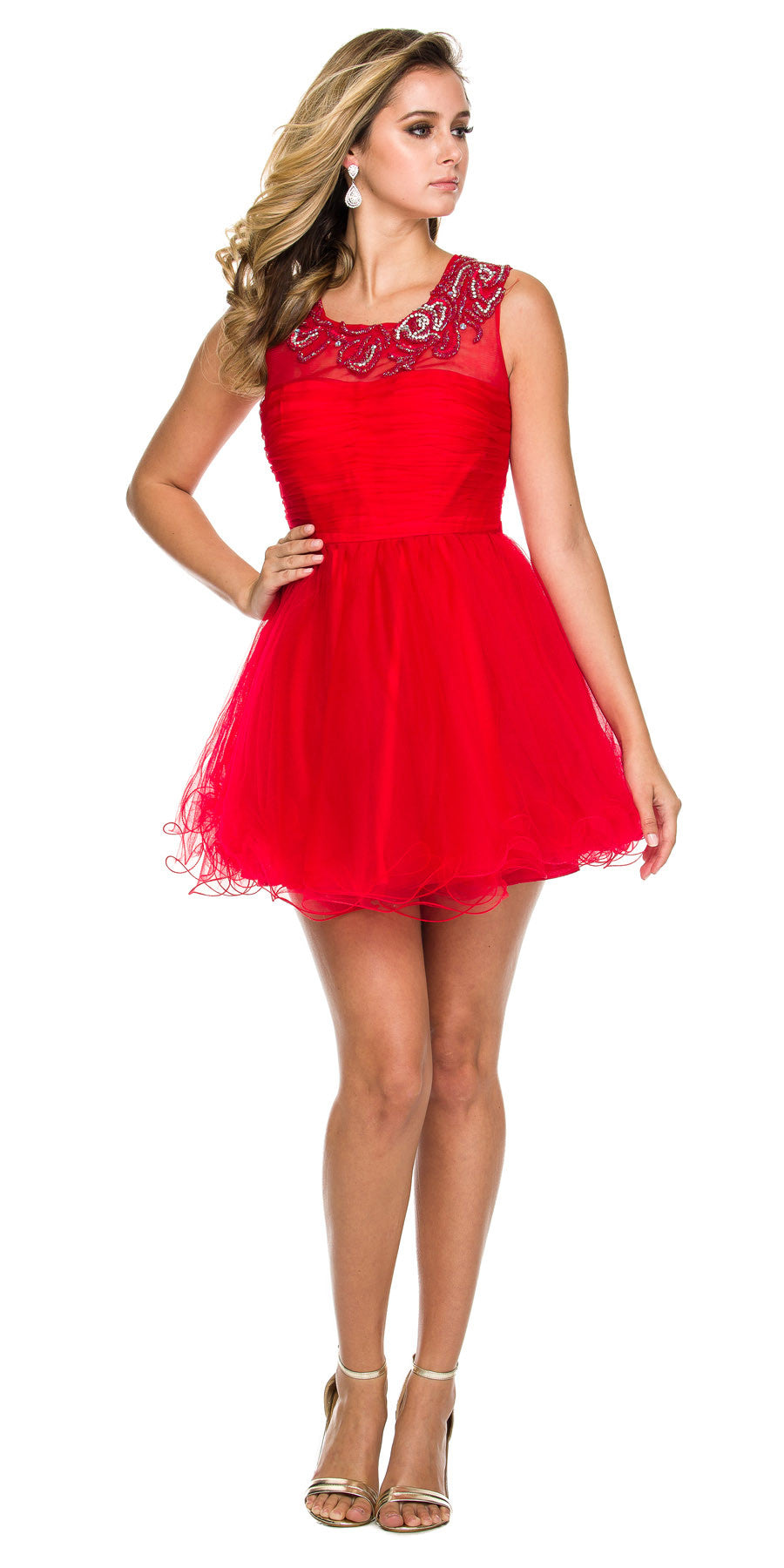 Short Poofy Tulle Prom Dress Red Illusion Beaded Neckline