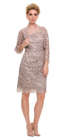Knee Length Cruise Dress Lace Sand Includes Lace Jacket