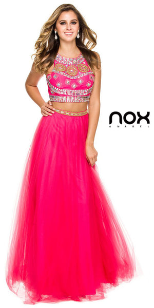 Two Piece Glamorous Prom Gown Fuchsia Tulle Skirt Jewel Bodice