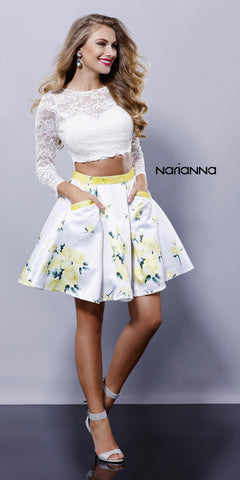 Illusion Appliqued Bodice Short Homecoming Dress White