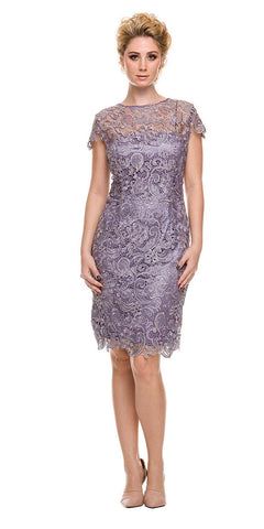 Short Vintage-Like Lace Dress Lilac Cap Sleeves
