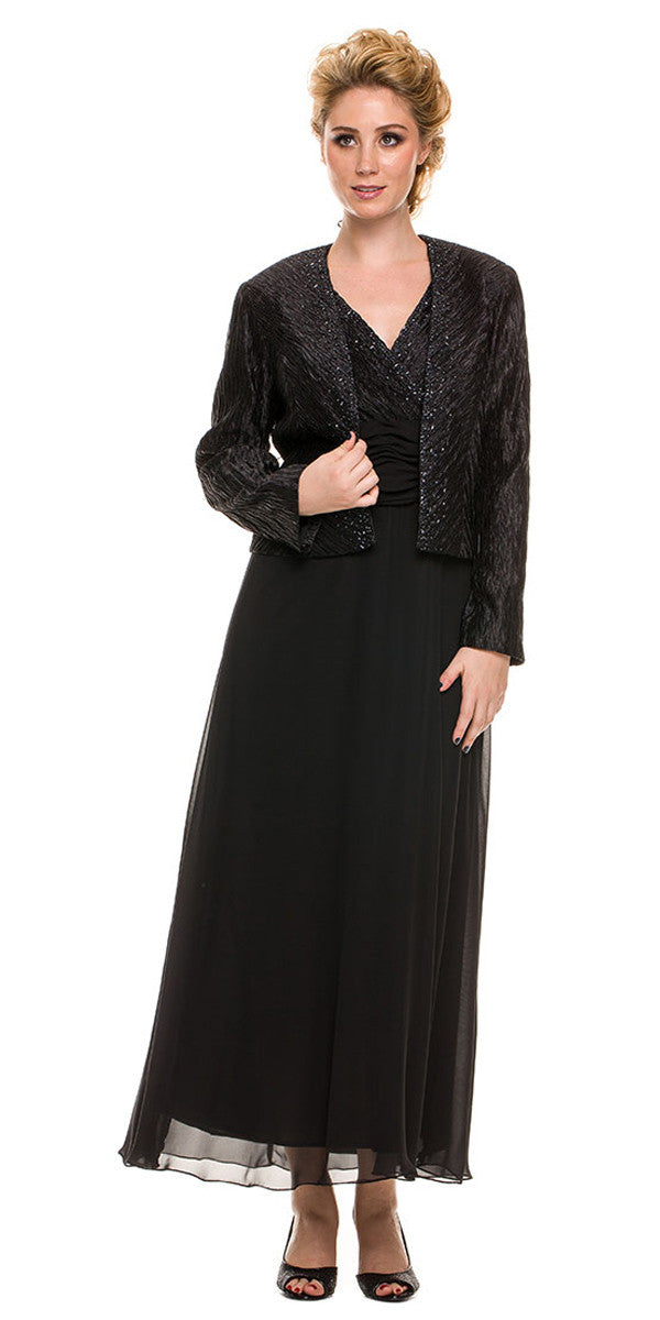 Plus Size Mother Groom Gown Black Long Jacket Chiffon