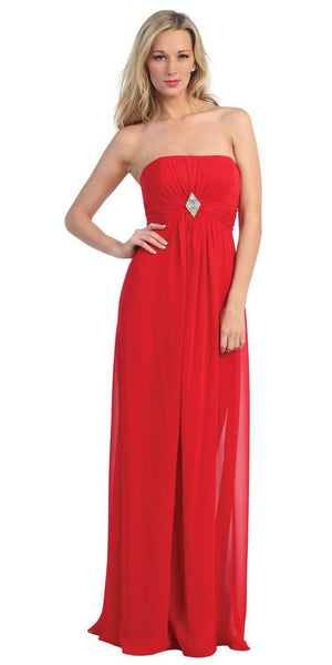 CLEARANCE - Long Red Bridesmaid Dress Chiffon Empire Waist Strapless Brooch