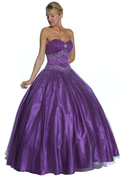 Purple Princess Ball Gown Sweetheart Bead Ruched Skirt Lace Up Back