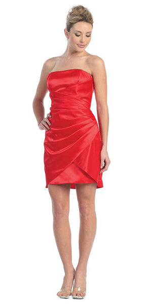 Red Cocktail Dress Night Club Party Dress Strapless Above Knee Satin