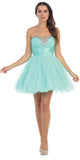 Rhinestone Studded Neck Ruched Short Mint Prom Dress