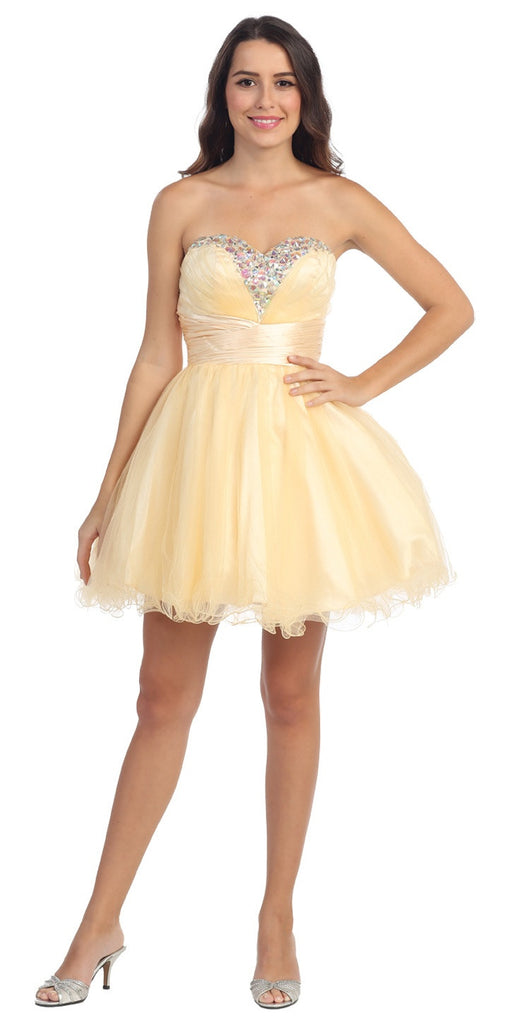 Rhinestone Studded Neck Ruched Short Champagne Prom Dress