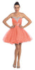 Rhinestone Studded Neck Ruched Short Coral Prom Dress