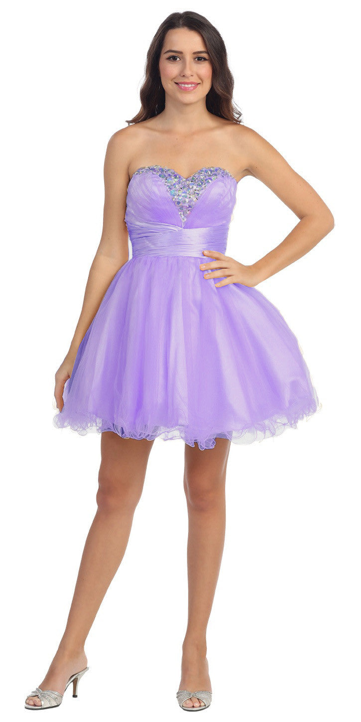 Rhinestone Studded Neck Ruched Short Lavender Prom Dress