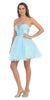 Rhinestone Studded Neck Ruched Short Light Blue Prom Dress