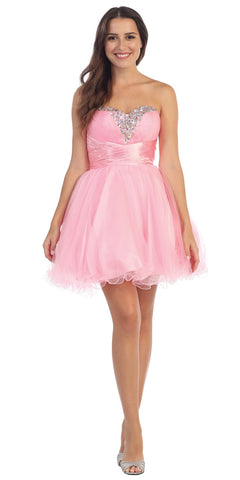 Rhinestone Studded Neck Ruched Short Light Pink Prom Dress