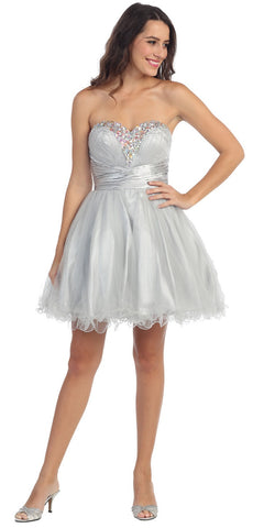 Rhinestone Studded Neck Ruched Short Silver Prom Dress