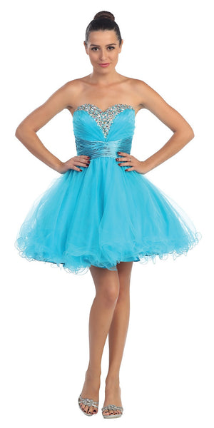 Rhinestone Studded Neck Ruched Short Turquoise Prom Dress
