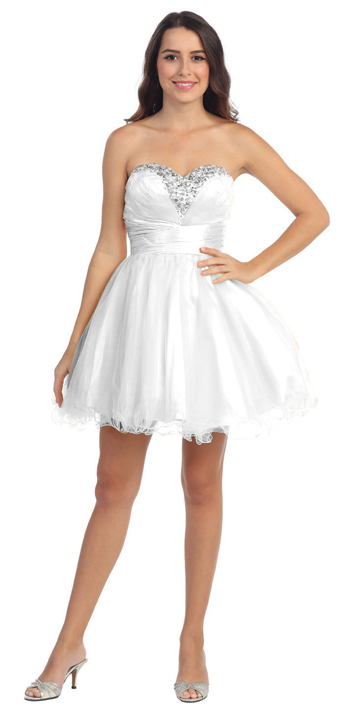 f31a5028699 Rhinestone Studded Neck Ruched Short White Prom Dress. Tap to expand