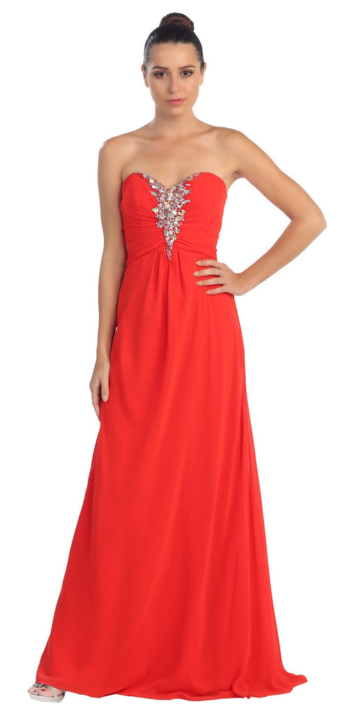 Rhinestone Studded Ruched Bodice Red Long A Line Gown