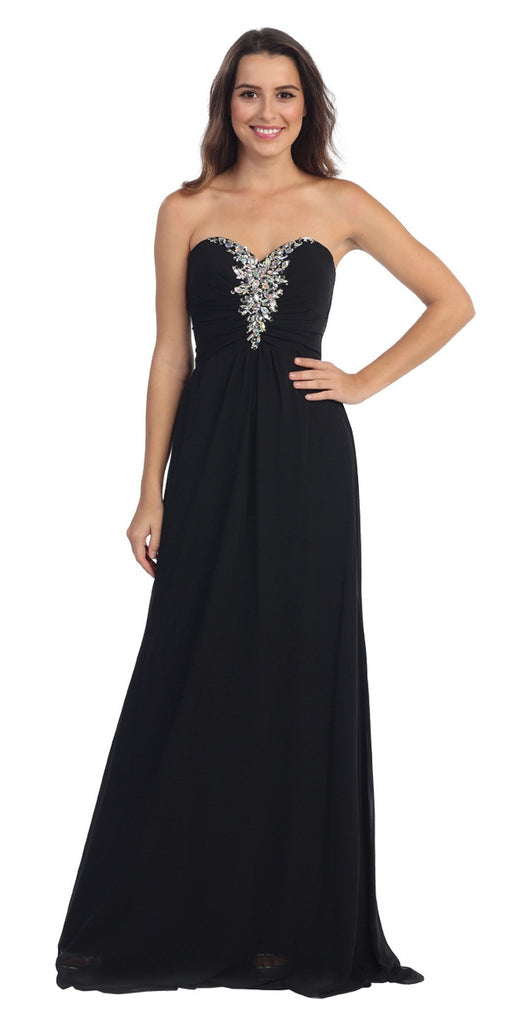Rhinestone Studded Ruched Bodice Black Long A Line Gown