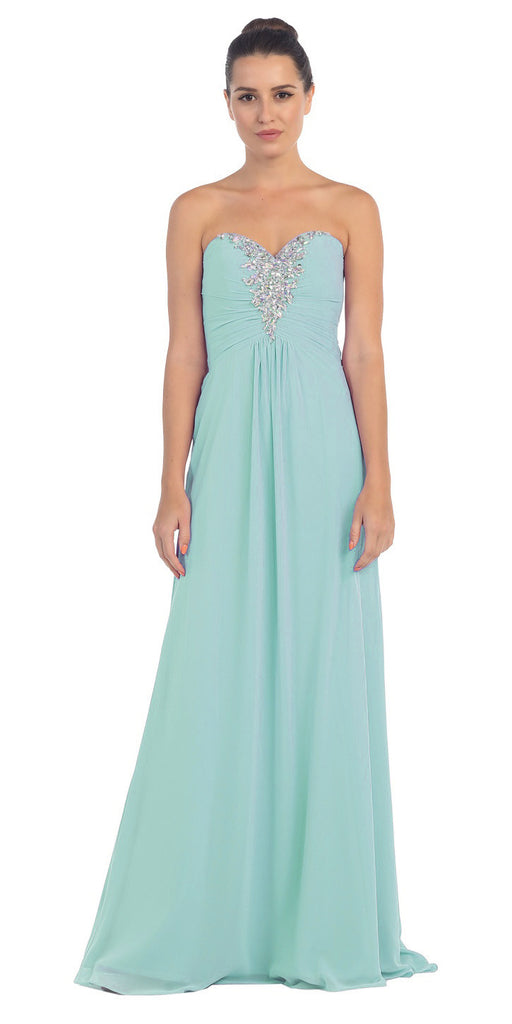 Rhinestone Studded Ruched Bodice Mint Long A Line Gown